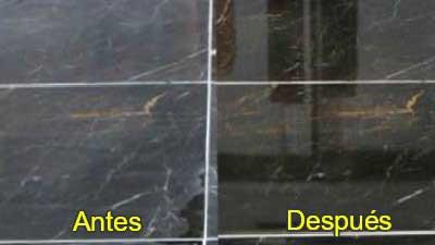 Abrillantado mármol antes después