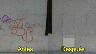 Graffitis granito antes después