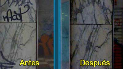 Graffitis rotulador mármol antes después