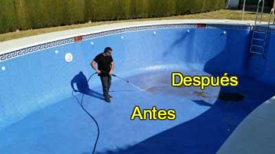 Limpieza piscinas 1 antes después