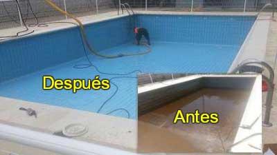 Limpieza piscinas 2 antes después